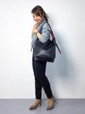 natsuさんの「【WEB限定】配色ポーチ付きバッグ(Loungedress|ラウンジドレス)」を使ったコーディネート
