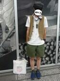 UZIくんさんの「USAコットン ポケットTシャツ(tk.TAKEO KIKUCHI|ティーケータケオキクチ)」を使ったコーディネート