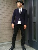 yasu Andoさんの「BANDANA NARROW TIE(MR.OLIVE|ミスターオリーブ)」を使ったコーディネート