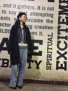 CHIYOさんの「ファーチャーム付きベレー帽(axes femme)」を使ったコーディネート