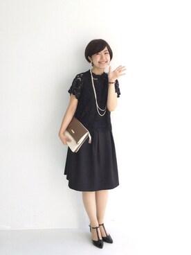 haco!|tama_hacoさんの「普段遣いもできて結婚式もいける、レーストップスとワンピースセット(haco!)」を使ったコーディネート