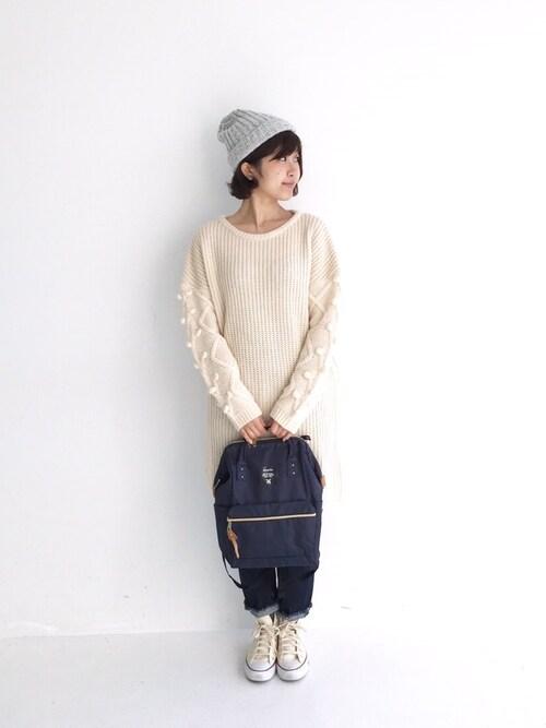 haco!tama_hacoさんのワンピース「NUSY パプコーン編みがかわいいおしゃれニットワンピース(haco!|ハコ)」を使ったコーディネート