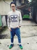 「Adidas Originals 3Foil Crew Sweatshirt - Gray(adidas)」 using this 林欣彥 looks