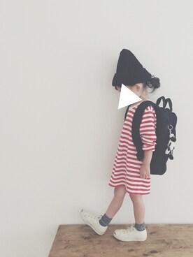 keemiiiiiさんの「marimekko / PITKAHIHA ボーダー ロングT  (116~128cm)(marimekko|マリメッコ)」を使ったコーディネート