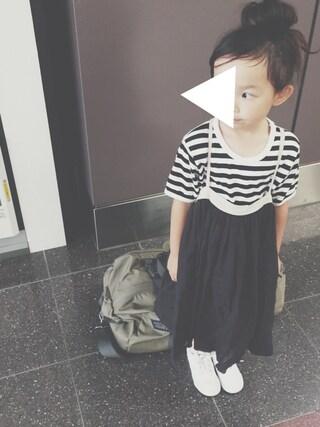 keemiiiiiさんの「marimekko / LYHYTHIHA ボーダー 半袖Tシャツ (110~122cm)(こども ビームス|コドモビームス)」を使ったコーディネート