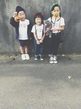 keemiiiiiさんの「2nd Anniversary TEE for KIDS(WHITE)(Palette TOKYO パレットトーキョー)」を使ったコーディネート