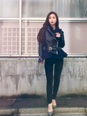 「Sacai Wool-blend and leather biker jacket(Sacai)」 using this 丸山悠美 looks