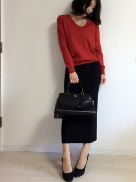yui  さんの「Angblend V/Neck knit(MOUSSY|ザラ)」を使ったコーディネート