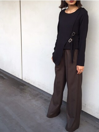 CANNABIS LADIES 新宿|seilaさんの「THE KEIJI 2163P02018 ELASTICA-TED WAIST AND TIE WIDE-LEG TROUSERS(CANNABIS LADIES|カンナビス レディース)」を使ったコーディネート