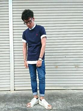 υ∃Dα.мさんの「Polo Ralph Lauren Cotton-Jersey T-Shirt(Polo Ralph Lauren)」を使ったコーディネート
