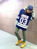 「MESHED FOOTBALL GAME JERSEY(Lafayette)」 using this しょこたにるこ looks
