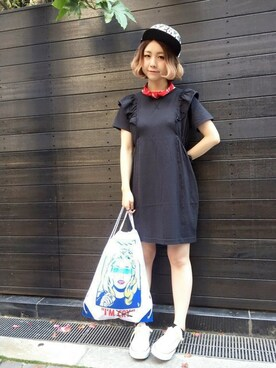 RNA Official Net Shop ミッツ☆さんの「D1335 肩フリルパッチワークワンピース(RNA)」を使ったコーディネート