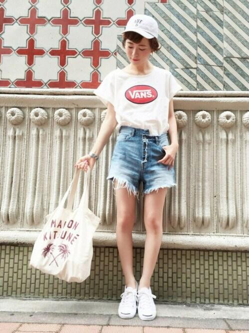 YUKIさんの「ロゴ刺繍キャップ/AEBC LifeIs CAP(Another Edition)」を使ったコーディネート