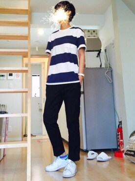 「WOMEN ボーダークルーネックT(半袖)(UNIQLO)」 using this Kira looks