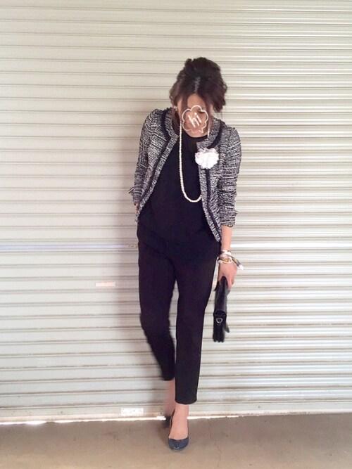 お別れ会 GU 小学校 黒のパンツスーツ おしゃれ画像