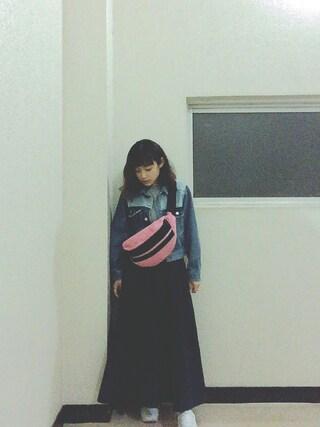 高橋愛さんの「オニツカタイガー ウエストバッグ Onitsuka Tiger WAIST BAG (EOT458)(ONITSUKA TIGER オニツカタイガー)」を使ったコーディネート