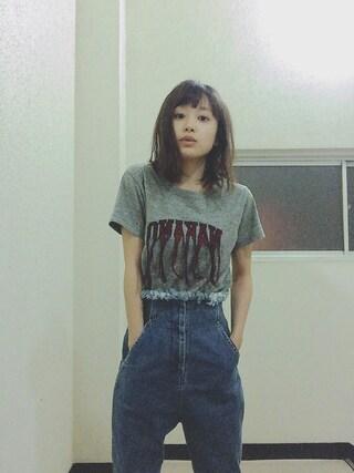 高橋愛さんの「【しょこたん着用】<レディス>mmts / NAKANO 刺繍Tシャツ(mmts マミタス)」を使ったコーディネート
