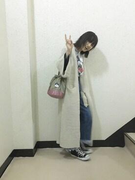 高橋愛さんの「<スザンヌさんコラボ>ラブ&ピースプロジェクト ビッグスリーブニットコーディガン(haco!|ハコ)」を使ったコーディネート