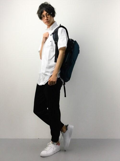 RENさんの「ノンアイロン BROOKSCOOL スーピマコットン GF キャンディストライプ ショートスリーブ カジュアルシャツ Regent Fit(BROOKS BROTHERS)」を使ったコーディネート