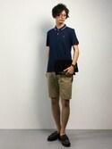RENさんの「[GIORDANO]スモールライオン刺繍半袖ポロシャツ(GIORDANO|ジョルダーノ)」を使ったコーディネート
