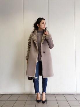 LIFE's代官山店|Hina...☻*さんの「フェイクムートンフーデットコート(TODAYFUL)」を使ったコーディネート