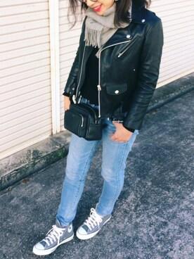 NANAさんのライダースジャケット「別注<beautiful people> ライダースジャケット -2016FW †(UNITED ARROWS|ユナイテッドアローズ)」を使ったコーディネート