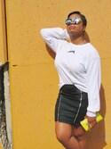 「Missguided Zip Front Mini Denim Skirt(Missguided)」 using this Lauren Potter looks