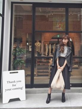 LIFE's堀江店|Nakai     Ayamiさんの「レザーライダースジャケット(TODAYFUL)」を使ったコーディネート