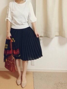 ぴったんさんの「シフォンアコーディオンプリーツスカート/480821(JEANASIS)」を使ったコーディネート