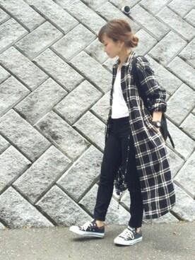 chanpekoさんの「WOMEN フランネルロングシャツ(長袖)(UNIQLO|ユニクロ)」を使ったコーディネート