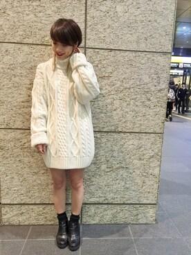 mystic LUCUA大阪店|okada sakiさんの「【HIGHLA】HLケーブルタートルニット(mystic)」を使ったコーディネート