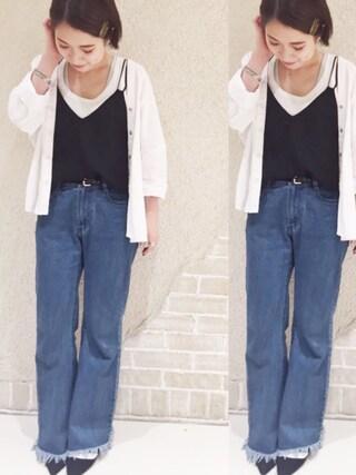 mystic LUCUA大阪店|okada sakiさんの「【mystic】ダンガリーVフロントシャツ(mystic|ミスティック)」を使ったコーディネート