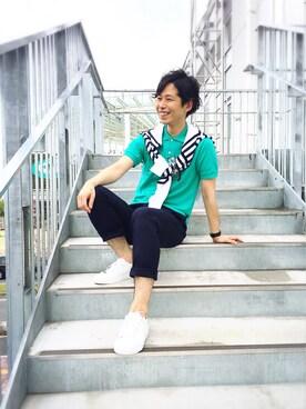 LACOSTE イオンレイクタウン店 TAKASHIさんの「クルーネック ジャガード セーター(LACOSTE L!VE ラコステ ライブ)」を使ったコーディネート