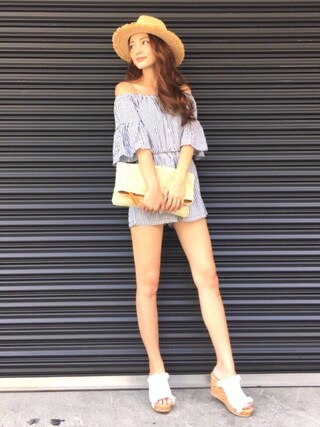 n a g i s aさんの「BELL SLEEVE STRIPE ROMPERS(AMERI|アメリヴィンテージ)」を使ったコーディネート