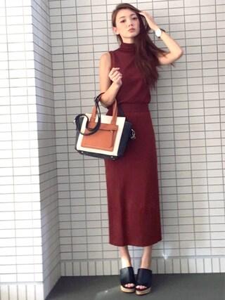 n a g i s aさんの「WOMEN メリノブレンドリブスカート(ユニクロ|ユニクロ)」を使ったコーディネート