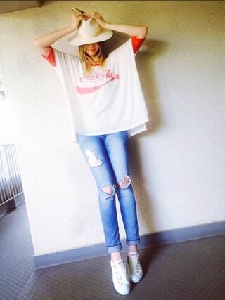 PINK!さんの「Coca Cola Sunny Morning Tee(WILDFOX|ワイルドフォックス)」を使ったコーディネート