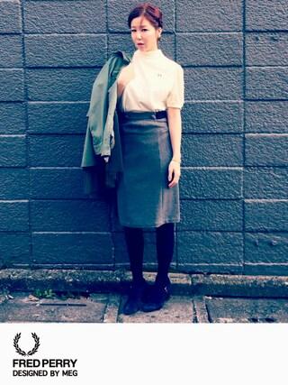MEGさんの「【予約】CAROLINA GLASER / サスペンダータイトスカート(CAROLINA GLASER|カロリナ グレイサー)」を使ったコーディネート