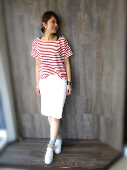 kotomiさんの「リネンフォギーボーダーTシャツ(REAC)」を使ったコーディネート