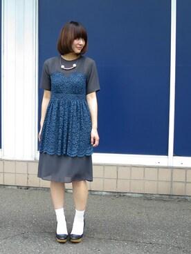 READY|kotomiさんの「75d梨地×コードレースビスチェドレス(I am I)」を使ったコーディネート