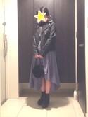 えるさんの「ライダースジャケット550-3591(merlot|メルロー)」を使ったコーディネート