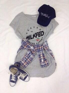 MILKFED.|MILKFED.OFFICEさんの「FOOT BALL DRESS LAX (ワンピース/チェリー)(MILKFED.)」を使ったコーディネート