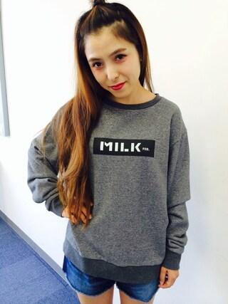 MILKFED.|MILKFED.OFFICEさんの「SWEAT CREW TOP BAR (クルーネック/スウェット/無地/ロゴ/バー)(MILKFED.|ミルクフェド)」を使ったコーディネート