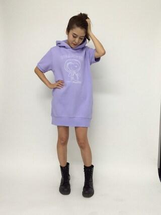 MILKFED.|MILKFED.OFFICEさんの「SNOOPY S/S HOODIE SWEAT DRESS (スヌーピー/アストロノーツ/スウェットワンピース)(MILKFED.|ミルクフェド)」を使ったコーディネート