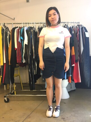 「Lazy Oaf Retro Ringer Tee With Potty Mouth Rose Embroidery(Lazy Oaf)」 using this refinery29 looks