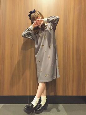 木村ミサさんの「【KARINE】ウサギプリント衿つきAラインワンピース(KARINE)」を使ったコーディネート