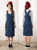 Natalieさんの「Shalex Denim Overall Dress(Shalex)」を使ったコーディネート
