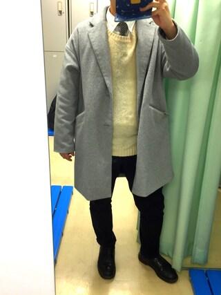 やまさんの「シャギードッグセーター(SENSE OF PLACE by URBAN RESEARCH|センス オブ プレイス バイ アーバンリサーチ)」を使ったコーディネート