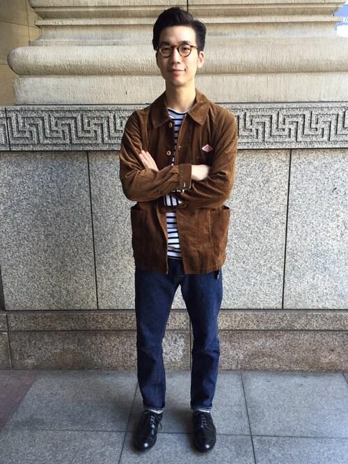 Bshop 神戸本店YASUKURAさんのテーラードジャケット「【DANTON(ダントン)】カバーオールジャケット MEN(Danton ダントン)」を使ったコーディネート