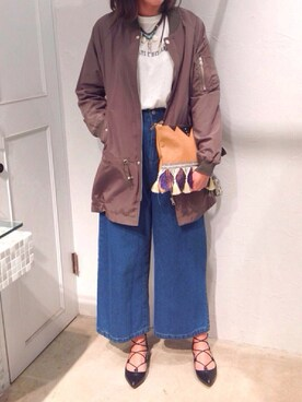 actuel 池袋esola店|▲Yuuri.s▼さんの「【MINK PINK】Split Side Square Tee(MINK PINK|ミンクピンク)」を使ったコーディネート