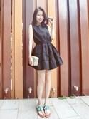 Gracegiftさんの「韓國清甜佳人荷葉無袖收腰洋裝(GraceGift|グレースギフト)」を使ったコーディネート